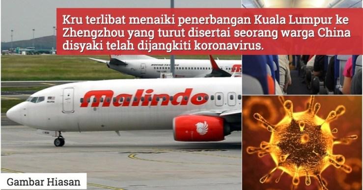 6 Kru Malindo Air Dikuarantin Selepas Penerbangan Dengan Pelancong China Disyaki Dijangkiti Koronavirus